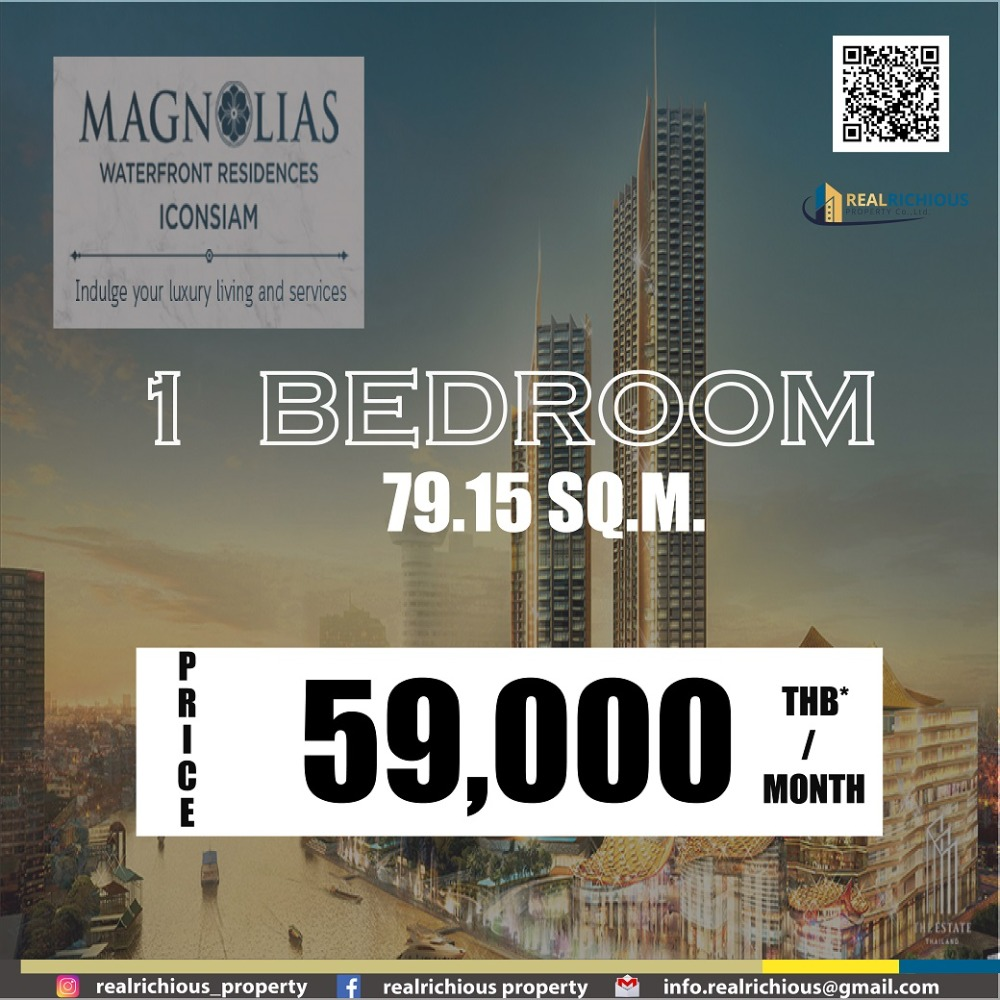 For RentCondoWongwianyai, Charoennakor : Magnolias Waterfront Residence Iconsiam [For Rent] If asking for a good price, answer that okay! Number One!